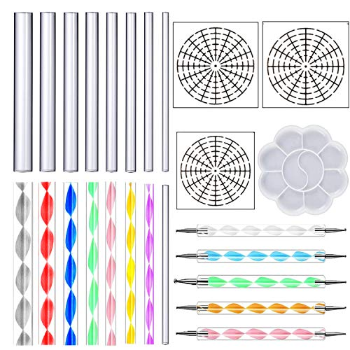 DaBuLiu 25 Pieces Mandala Dotting Tools for Painting Rocks,16 x Acrylic Rods,5 x Double Sided Dotting Tools,3 x Mandala Stencils and Paint Tray