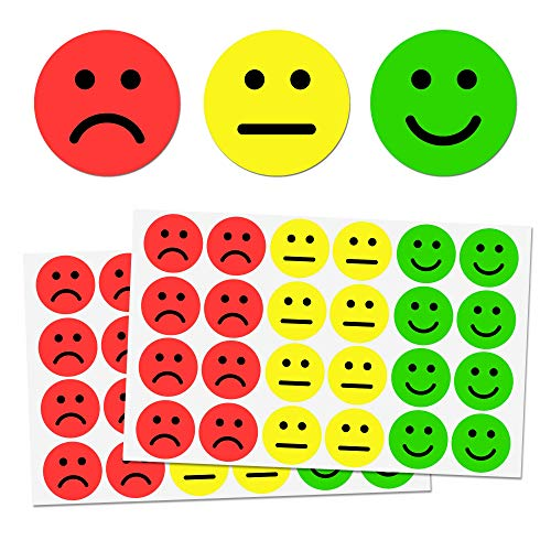 """1"""" Smiley/Sad Face Stickers - 3 Colors (Red/Yellow/Green), Pack of 1200"""