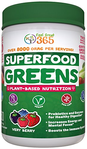 Superfood Vital Greens Juice Powder - Very Berry by Feel Great 365, Doctor Formulated with Organic Ingredients, Vitamins, Minerals, Vegan, Whole Food Supplement - Fruits, Veggies and Probiotics