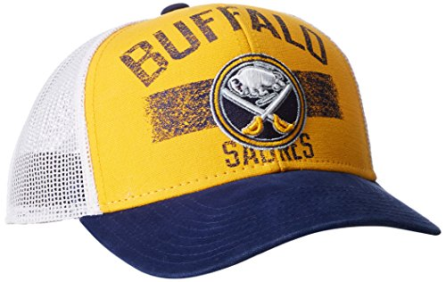 NHL Buffalo Sabres Men's SP17 City Name Trucker Cap, Yellow, One Size (Reebok Mesh Sabres Buffalo)