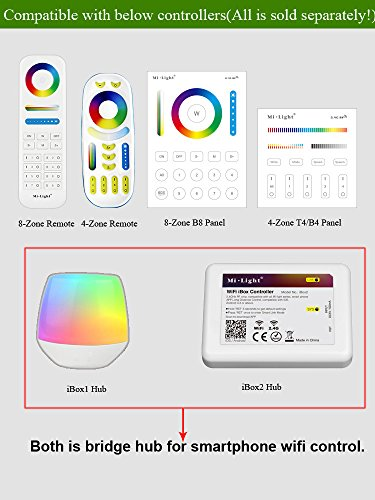 Pack of 4 Mi.Light 4W MR16 Led Bulb Spotlight GU5.3 Socket AC/DC 12V RGB+CCT Color and Temperature Changeable Dimmable Must Work with RGB+CCT Remote,B4 T4 Panel and Smartphone Control Via iBox Hub by LGIDTECH (Image #1)