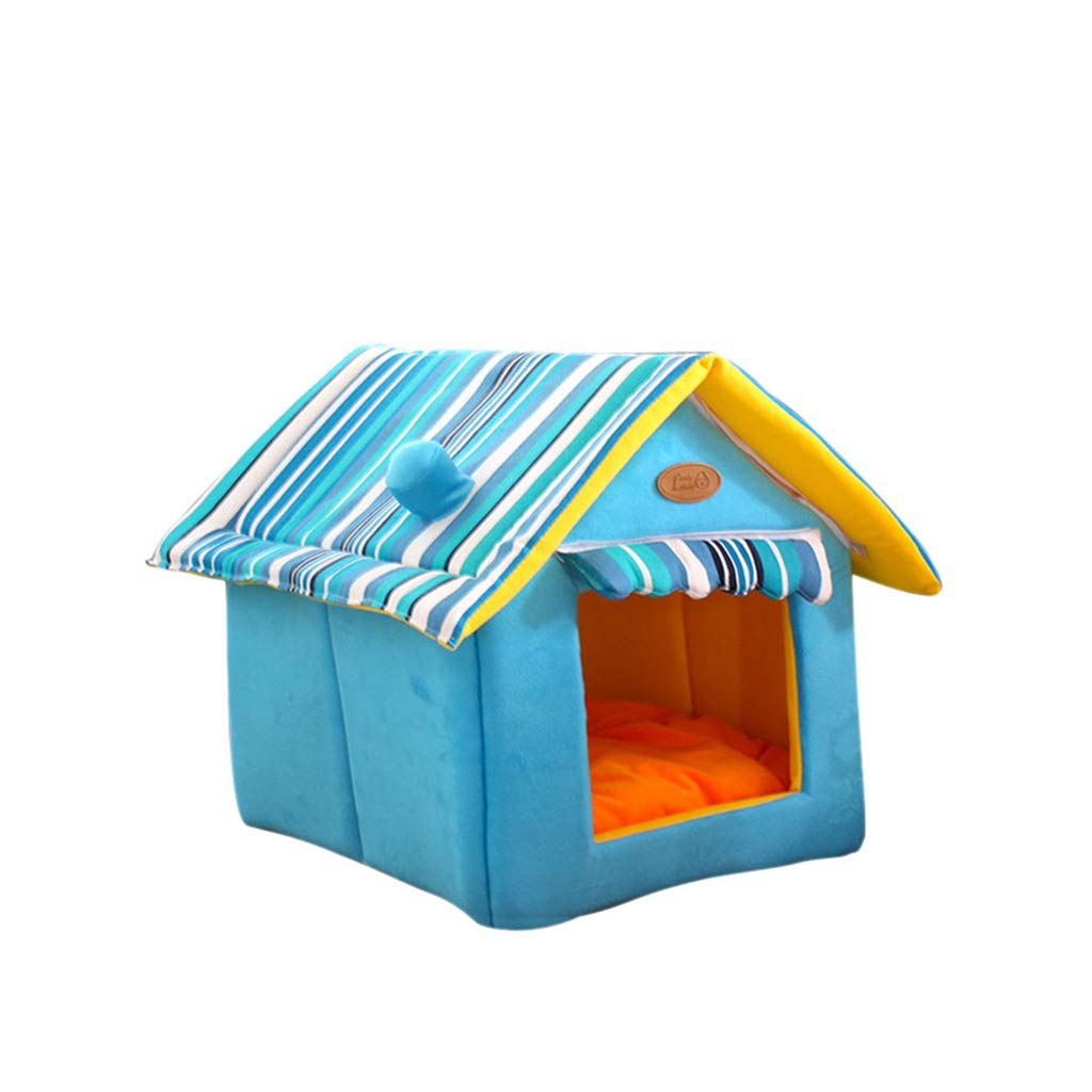 bluee SXBCWW Dog House, Kennel Suitable For Small And Mediumsized Dog Pet Nest, Cat Nest Dog Mat Winter Washable Dog Bed  Brown, Yellow, bluee (S, M, L, Xl) (color   Yellow, Size   L)