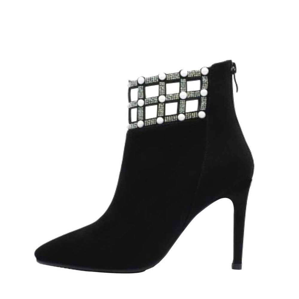 Miss Li damen Stiletto High Heel Pumps Herbst Und Winter Spitze Leder Strass Sexy Kurze Stiefel Funkelnden Prom Party Schuhe