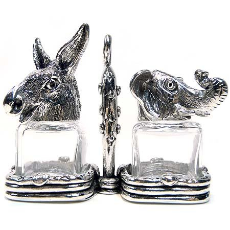 Pewter and Glass Republican and Democrat (Elephant and Donkey) Salt and Pepper Shaker Set