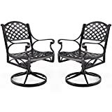 Cheap Nuu Garden Outdoor Furniture Solid Cast Aluminum Patio Conversation Dining Swivel Rocker Club Chair CD003, Antique Bronze (Set of 2)