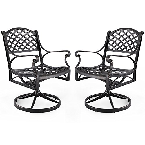 Nuu Garden Outdoor Furniture Solid Cast Aluminum Patio Conversation Dining Swivel Rocker Club Chair CD003, Antique Bronze (Set of 2) For Sale