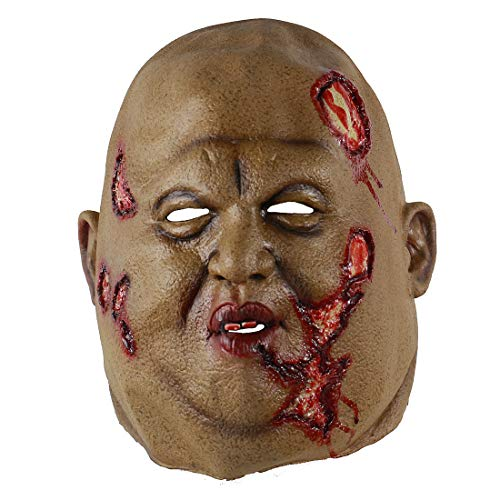 Hophen Creepy Scary Halloween Cosplay Costume Mask for Adults Party Decoration Props (Bald Head Zombie)]()
