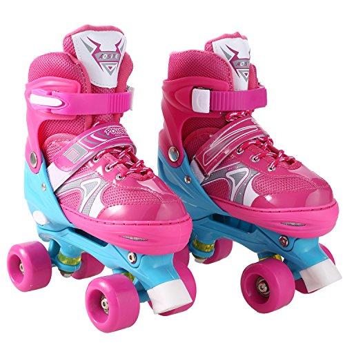 Leoneva Adjustable Roller Skates with Durable PVC Wheels for Kids/Boys/Girls/Toddlers(US Stock) (Pink, US Size 12J-2) (Sponge Roller Master)