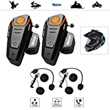 Veetop 2 x 800m Water Resistant Bluetooth Motorcycle Motorbike Helmet Intercom Interphone Headset for 2 or 3 riders and 2.5mm Audio for Walkie Talkie MP3 player GPS - Hands Free & FM radio (2Pack)