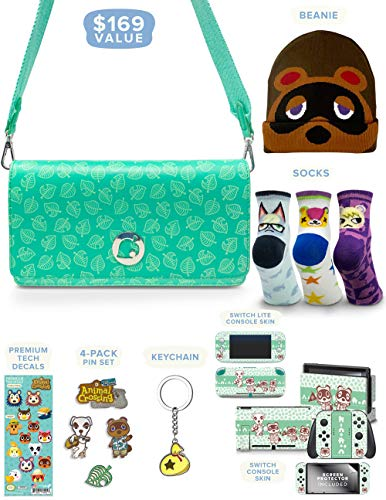 Controller Gear Official Nintendo Animal Crossing: New Horizons Merch Collectors Gift Set - Sling Bag, Switch + Switch Lite Skins, Beanie, Socks, Pins - Nintendo Switch