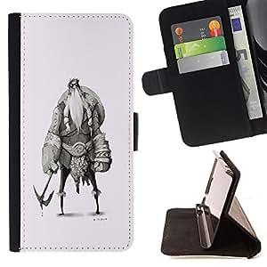 BullDog Case - FOR/Samsung Galaxy Note 4 IV / - / VIKING SKETCH CHARACTER SHIELD WARRIOR /- Monedero de cuero de la PU Llevar cubierta de la caja con el ID Credit Card Slots Flip funda de cuer