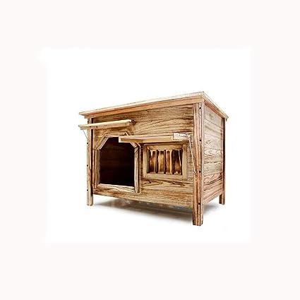 Medio sin puerta con ventana exterior interior plano superior de carbón de madera casa de perro