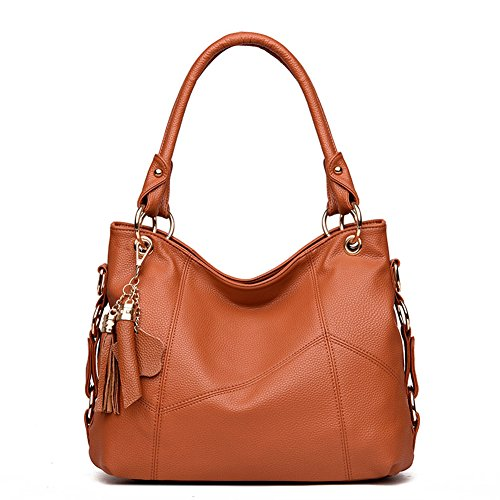 Women's Leather Tote Shoulder Bag Handbag Purses Satchel Shoulder Bags Handle Bag Leather tassel (brown) (Leather Bronze Bag)