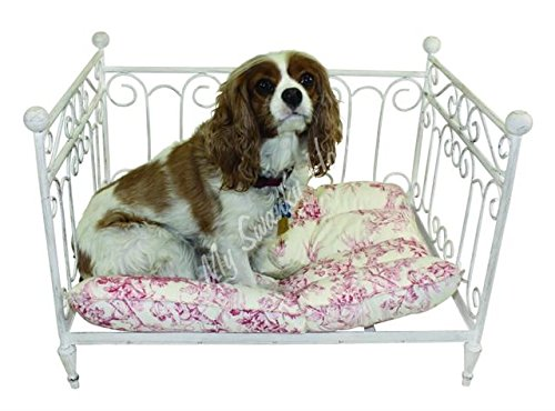 Antique Style Dog Pet Day Bed | White Iron Scroll Cream Cat