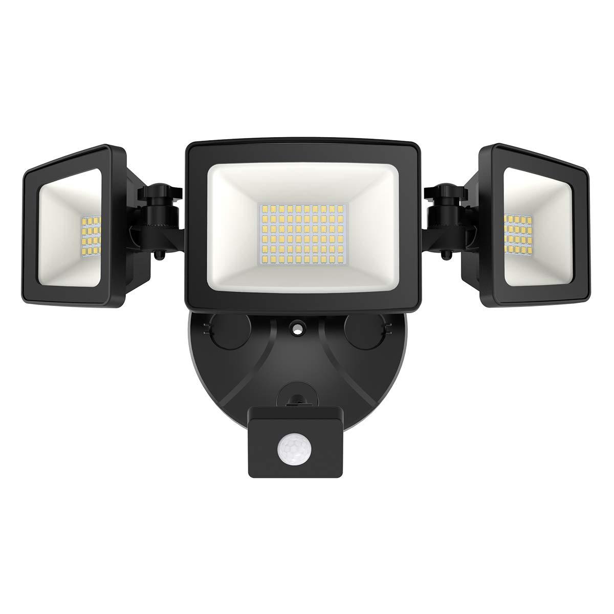 Onforu 50W LED Security Lights with Motion Sensor, Three Head Outdoor Indoor Flood Light 5000 Lumens 5000k IP65 Waterproof Floodlights for Entryways Stairs Yard Garage, Black by Onforu