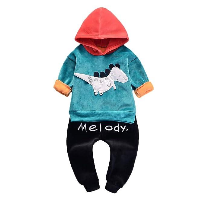 Mitlfuny Invierno Primavera Unisex Ropa Deportiva Bebé Niños Algodón Camisetas Sudaderas de Manga Larga con Capucha Dinosaurio Estampado Jerseys Tops + ...