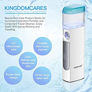 KINGDOMCARES Facial Mister for Eyelash Extensions, Nano Mister with Power Bank, Face Steamer White