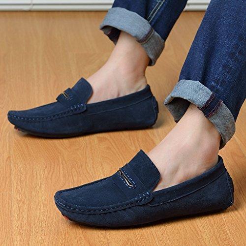 Minitoo Mens gestreift, verklagt Leder Mokassins Slipper Boat Shoes Blau