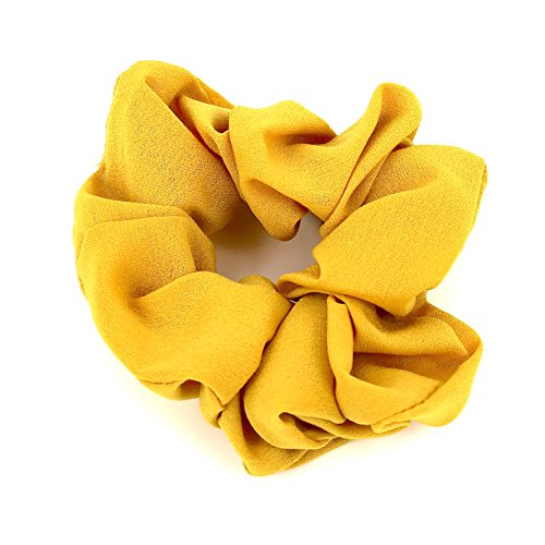 (Hair Accessories Women Girls Simple Pattern Scrunchies for Hair (Mustard Yellow))
