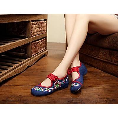 &QQ Chaussures brodées, semelle tendineuse, style ethnique, chaussures en tissu féminin, mode, chaussures de danse confortables