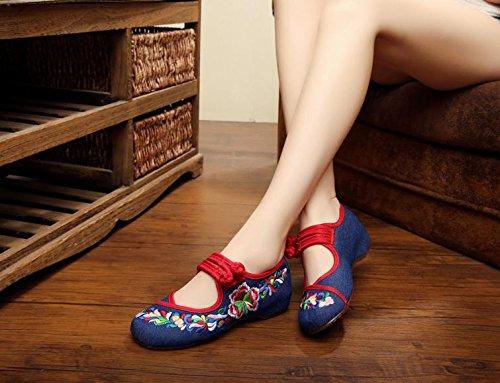 ZLL Gestickte Schuhe, Sehnensohle, ethnischer Stil, weibliche Tuchschuhe, Mode, bequem, Tanzschuhe , white , 40