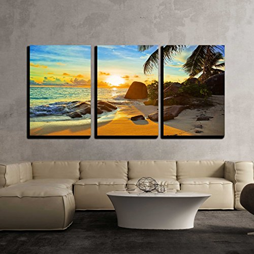 Caribbean Home Decor - wall26 - 3 Piece Canvas Wall Art - Tropical Beach at Sunset - Nature Background - Modern Home Decor Stretched and Framed Ready to Hang - 16