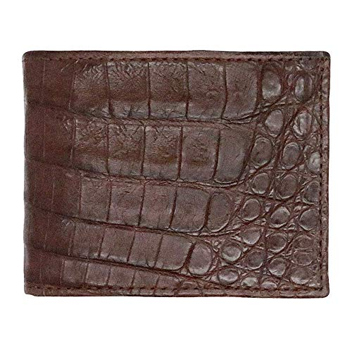 Brown Matte Genuine Crocodile Bifold Wallet - RFID Blocking - American Factory Direct - Made in USA by Real Leather Creations FBA1369