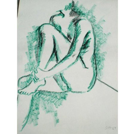 Kraft Charcoal Sketch Drawing Old 1967 vintage art listed nice Wall Art nude by The King's Bay