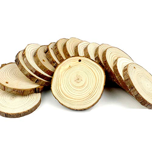CEWOR 15pcs 3-3.5 Natural Wood Slices Unfinished Predrilled Round Discs Tree Bark Wooden Circles for DIY Crafts