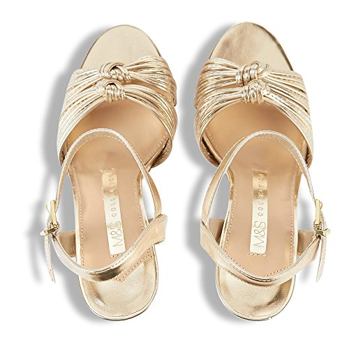 Marks and Spencer Tira de Tobillo Mujer Gold Leather
