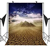 MEETS 5x7ft Egyptian Pyramids Backdrop Pyramid Blue Sky White Clouds Sunlight Dried Up Land Background Photo Booth Studio Props Theme Party Curtain Business Use Background MT394