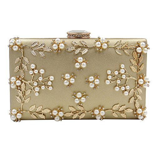 Zhhlinyuan Bolsos de alta calidad Women's Popular Rhinestones Small Bags Handbags Designer Bead Flowers Pearl Evening Shoulder Bags Womens Gifts Gold