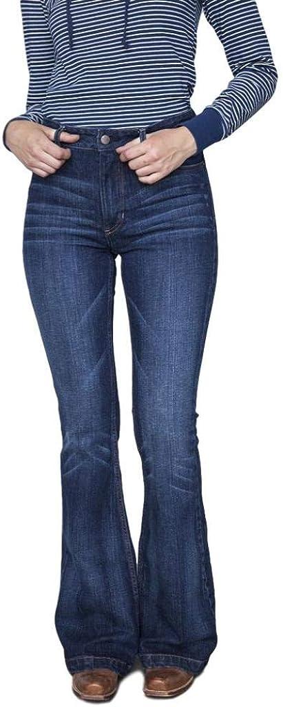 Kimes Ranch Women's Dark Wash Jennifer High Rise Wide Flare Jeans