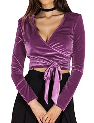 WLLW Women Velvet Long Sleeve Wrap V Neck Tie Front Crop Tops Shirt Blouse