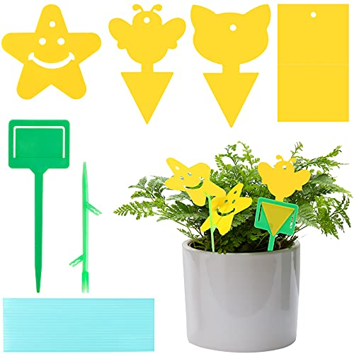HAKACC Yellow papaer sticky Fly Traps,40PCS Dual-Sided Fruit Fly Sticky Board for Home Use Indoor Outdoor Plant Multiple Insect
