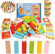 Wooden Stacking Board Games 54 Pieces for Kids Adult and Families, Leapom Wooden Blocks Toys for Toddlers, Col