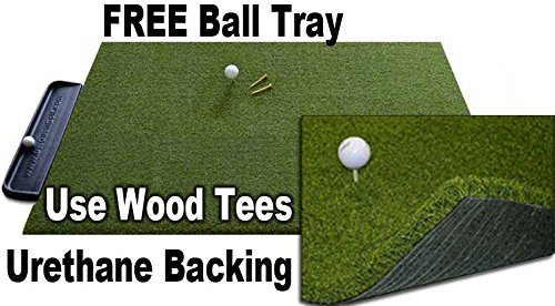 4 x 5Gorilla Perfect Reaction Urethane Backed Golf Mat. Use Your Real Wood Tees. at Last a Golf Mat with No Shock, No Bounce. No Rubber Tees Required. Each Mat Comes with a Free Golf Ball Tray. by Gorilla Perfect ReACTION Golf Mats