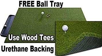 Gorilla Perfect ReACTION Golf Mats 4 x 5 Use Real Wood Tees. at Last a Golf Mat with No Shock, No Bounce No Rubber Tees Required. Free Ball Tray. Gorilla Urethane Backed Golf Mats.