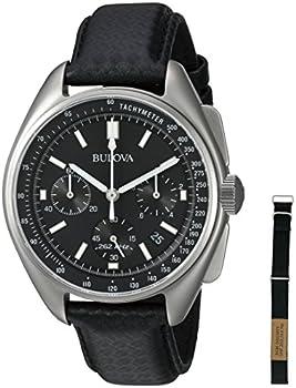 Bulova 96B251 45mm Moon Chronograph Leather Strap Mens Watch