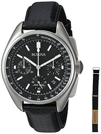 Bulova Men's Leather Strap Moon Watch