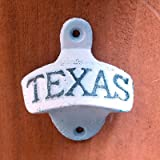Rustic Cast Iron TEXAS Wall Mount Beer Bottle Opener (White)