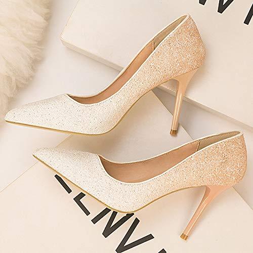Yukun zapatos de tacón alto Las Mujeres Finas De Tacón Alto con Los Zapatos De Mujer Fina De Otoño Señalaron Las Señoras Salvajes del Remache De Los 10Cm White Apricot