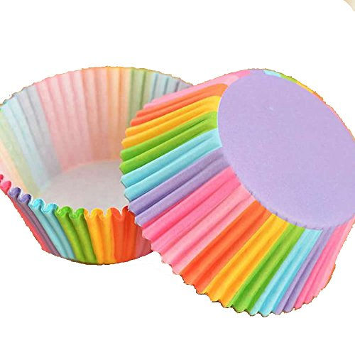 Delight eShop 100Pcs Colorful Rainbow Paper Cake Cupcake Liners Baking Muffin Cup Case Party