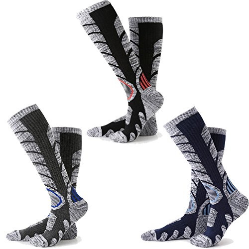 Skiing Socks Men 3 Packs ( Black + Dark Grey + Dark Blue )