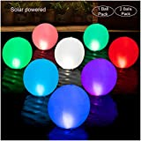 3. HAPIKAY 2019 Solar Floating Pool Lights - 14-inch Fun Vibrant Changing Colors Balls - Inflatable Floatable Hangable Wateproof - Pool Garden Backyard Christmas Decorations - Pack of 2 Balls