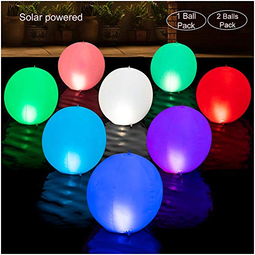 HAPIKAY 2019 Solar Floating Pool Lights - 14-inch Fun Vibrant Changing Colors Balls - Inflatable Floatable Hangable Wateproof - Pool Garden Backyard Christmas Decorations - Pack of 2 Balls