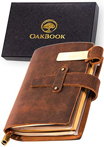 - 180 Page Handcrafted Genuine Leather Notebook (90 Sheets) - Leather Travel Journal Scrapbook with Pen Holder, Card Slots and Zippered Pouch