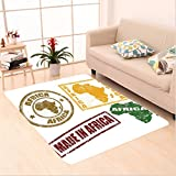Nalahome Custom carpet ations Set Of Grunge Rubber Stamps Made In Africa Quote Inside Authentic Labels Theme Yellow Red area rugs for Living Dining Room Bedroom Hallway Office Carpet (5' X 7')