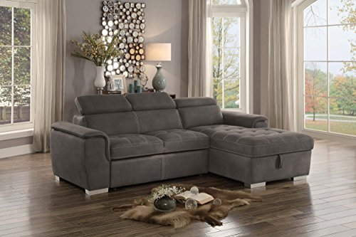 "Homelegance Ferriday 98"" x 66"" Sectional Sleeper with Storage, Taupe"