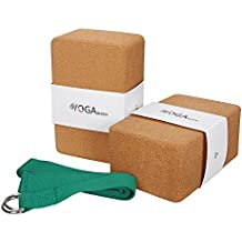 JBM Yoga Block Plus Strap with Metal D-Ring Yoga Brick Cork Yoga Block 6 Colors - High Density EVA Foam Yoga Block to Support and Deepen Poses, Lightweight, Odor-Resistant